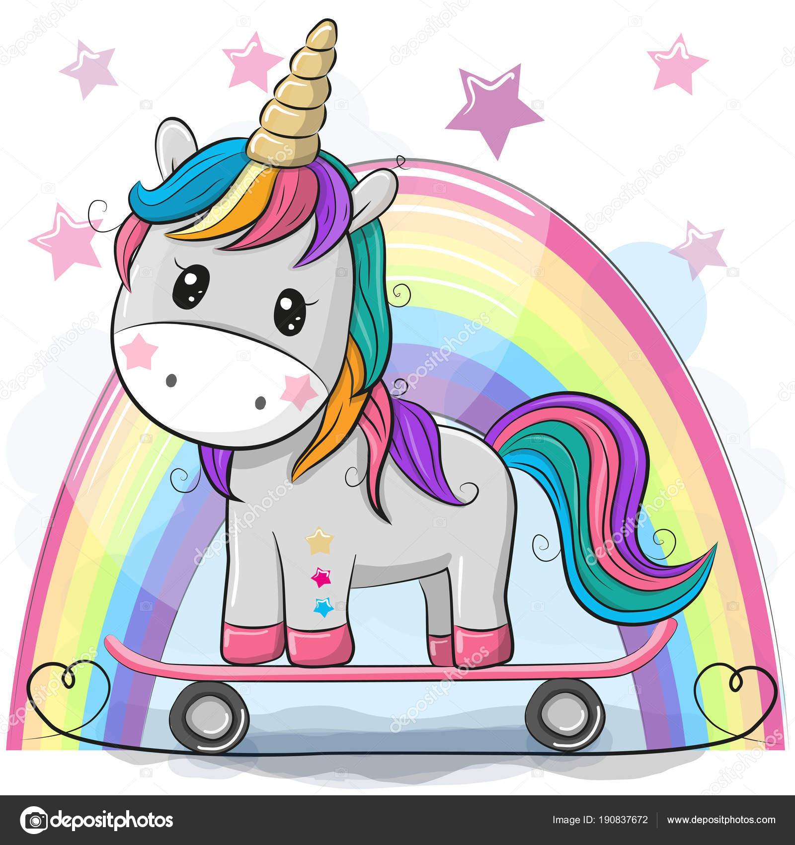 cute cartoon unicorn with skateboard stock vector reginast777