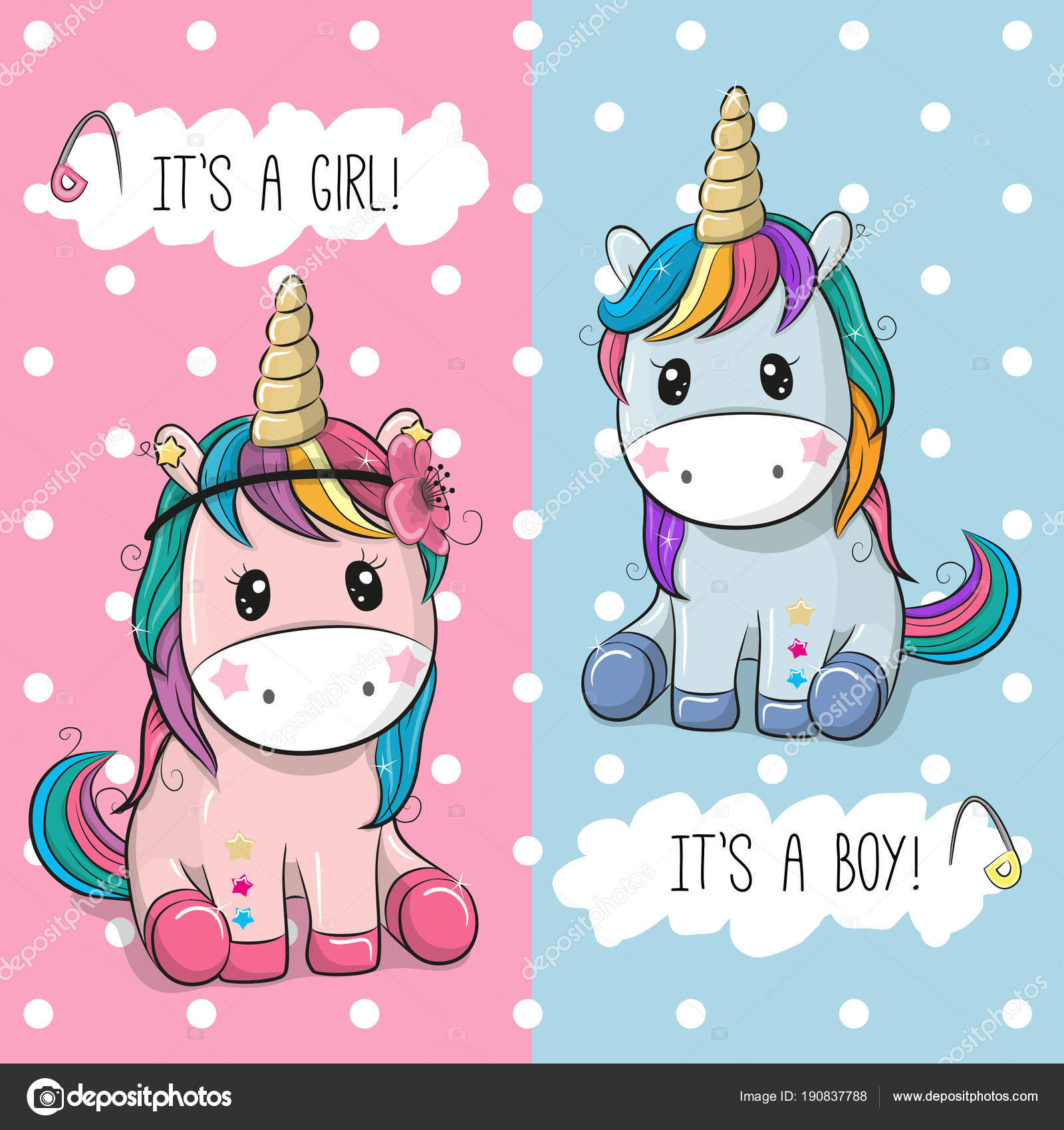 Baby Shower Greeting Card With Cute Unicorns Image Vectorielle
