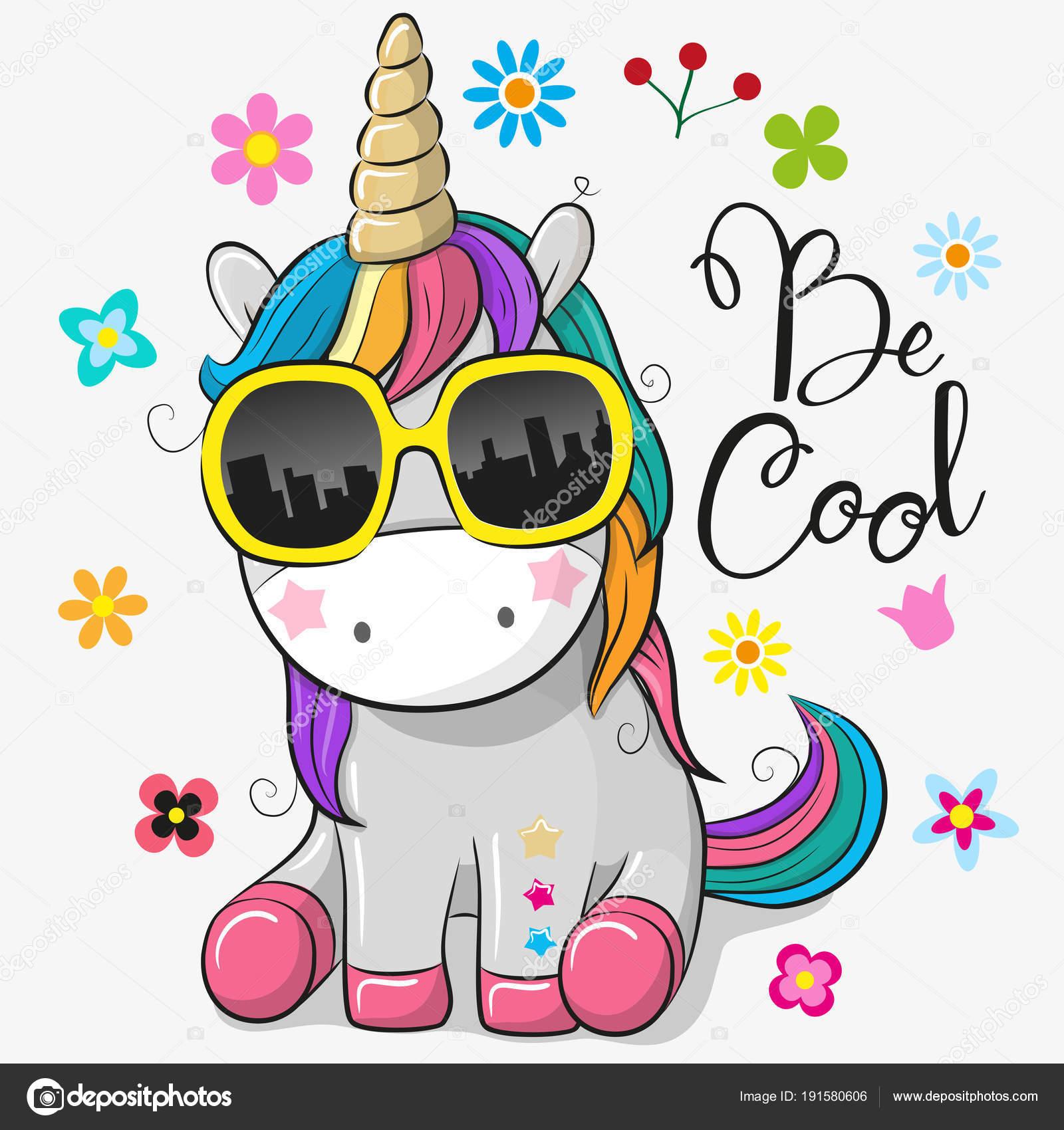 e3534817 Lindo unicornio con gafas de sol — Archivo Imágenes Vectoriales ...