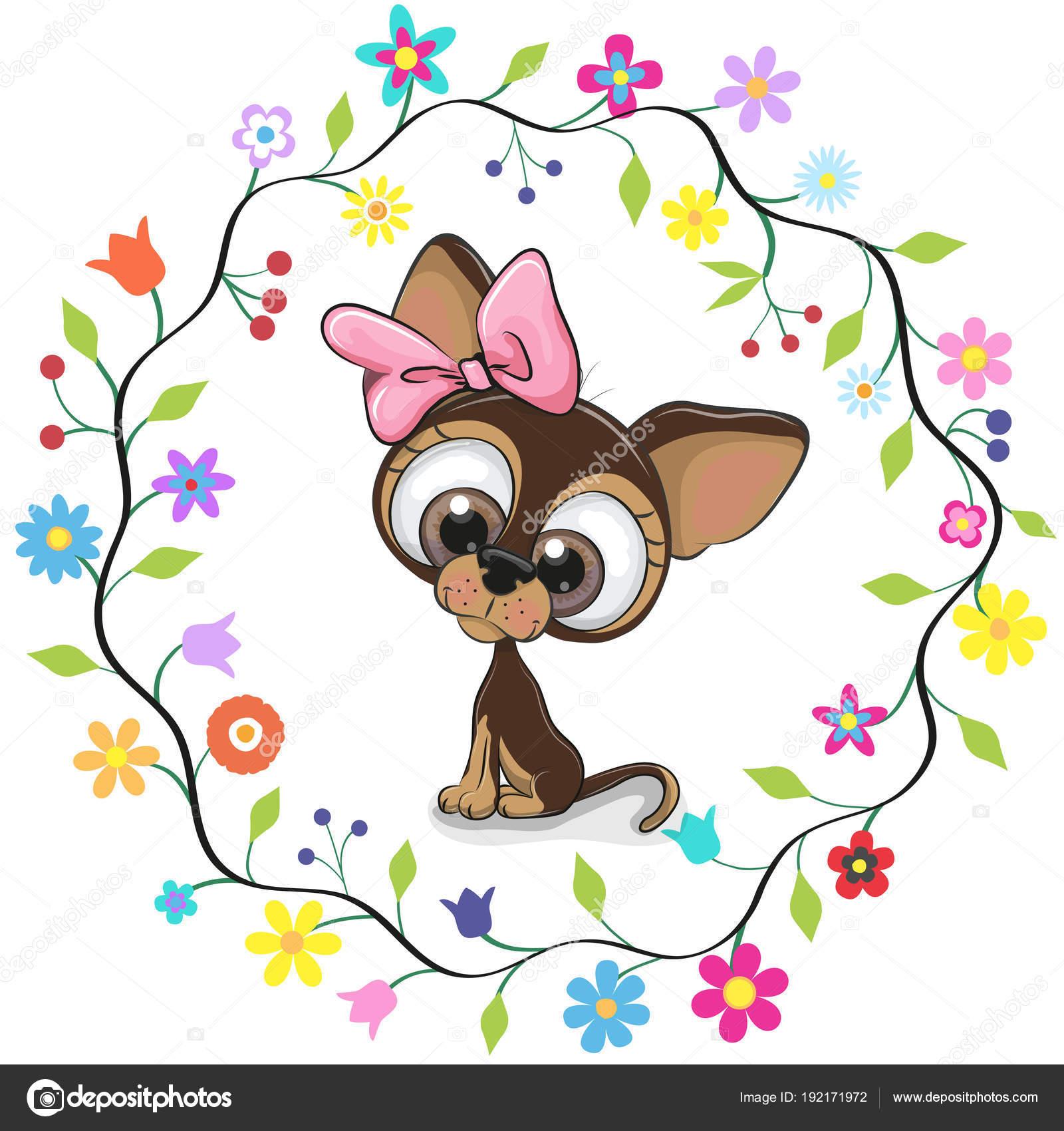 Lindo perrito en un marco de flores — Archivo Imágenes Vectoriales ...