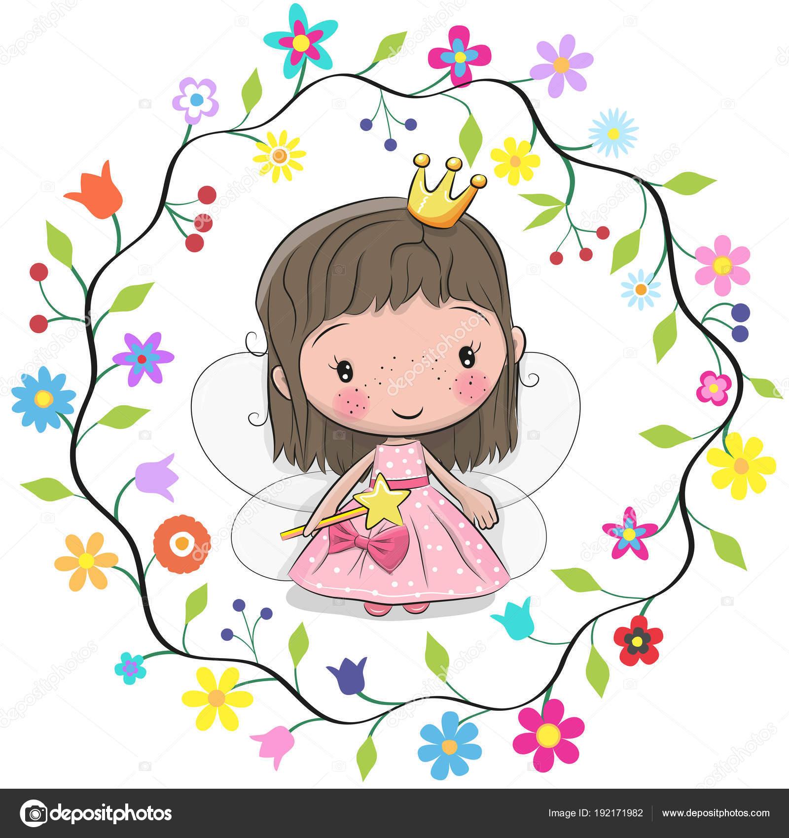 симпатичные принцесса в рамке цветы векторное изображение