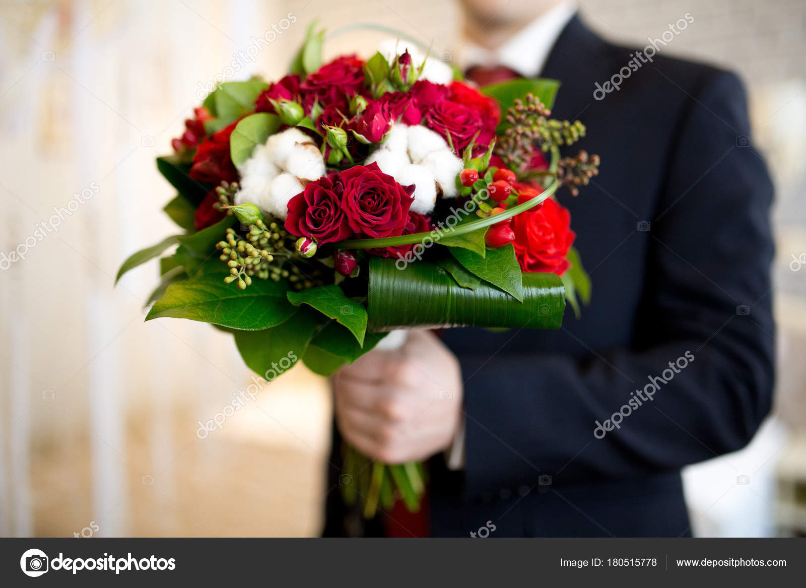 Man With Flower Bouquet Stock Photo Olgaosa 180515778