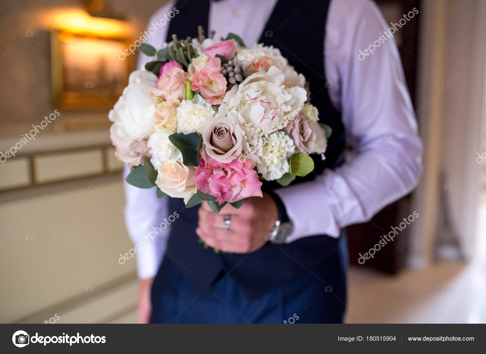 Man with flower bouquet stock photo olgaosa 180515904 man with flower bouquet stock photo izmirmasajfo