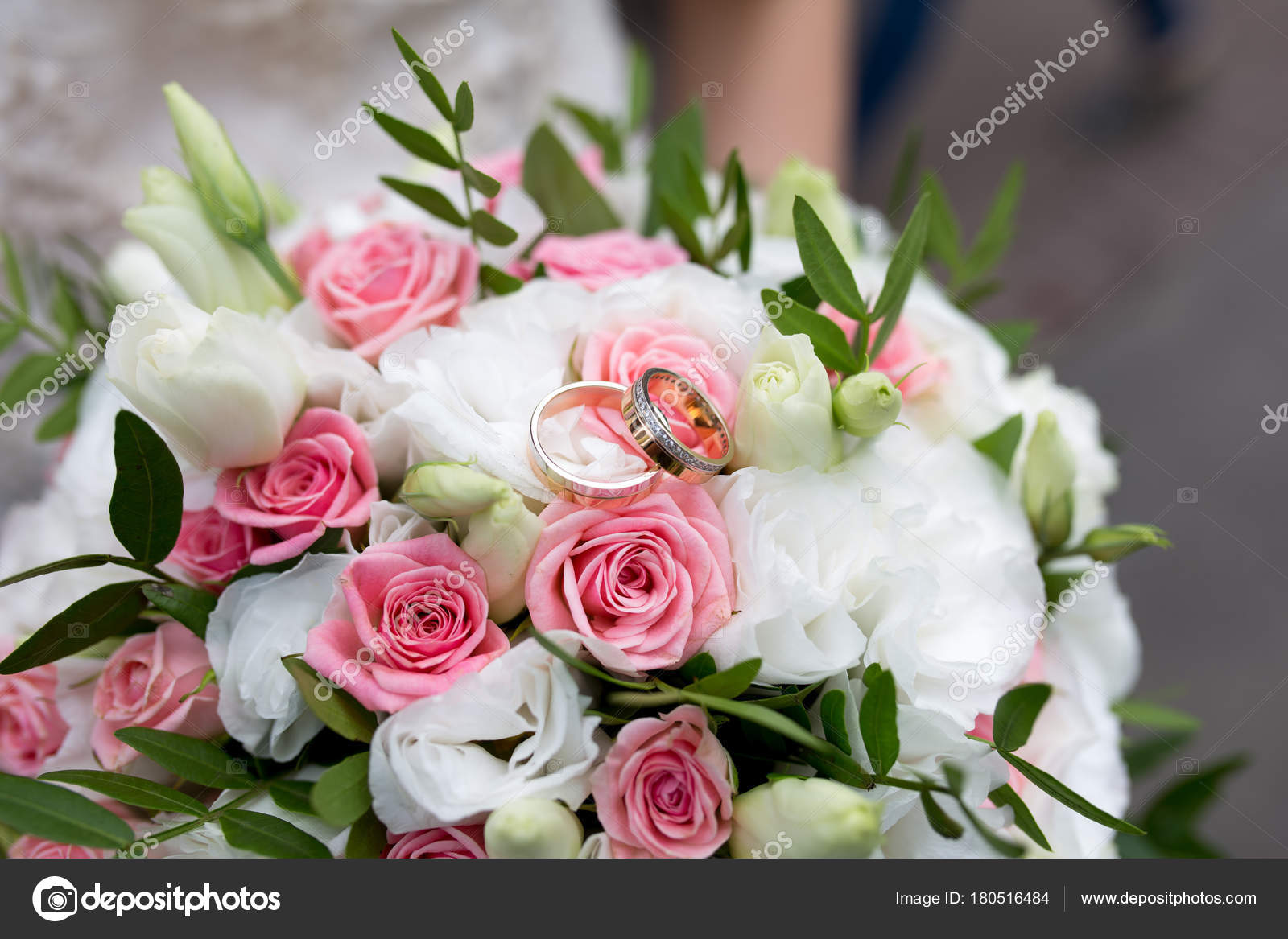 Big flower bouquet stock photo olgaosa 180516484 big bouquet and two wedding rings goods for wedding this photo is perfect for magazines shops dealing with wedding dresses ceremonies bride groom izmirmasajfo