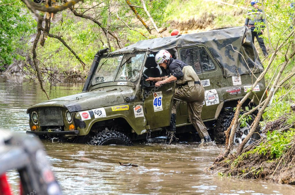 SALOVKA, RUSSIA - MAY 5, 2017: Annual racing on SUVs on impassability at the annual competition