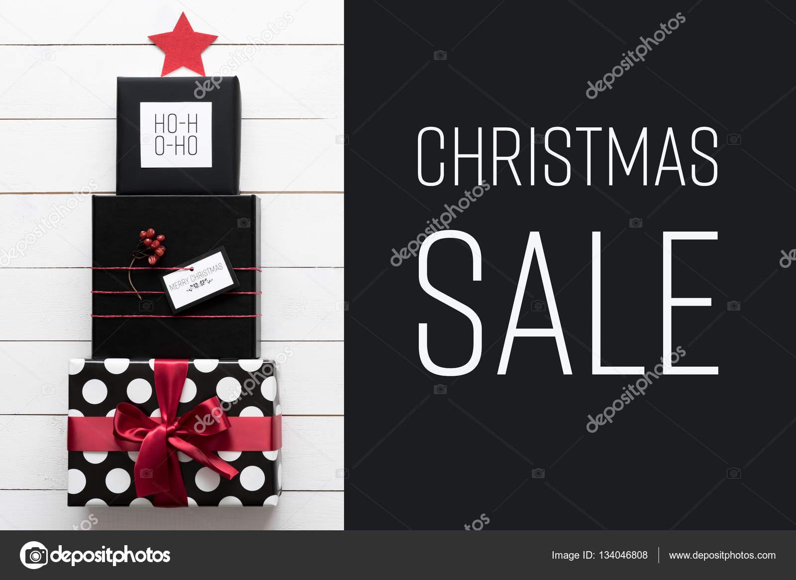 Weihnachten-Verkauf-Konzept. Schwarze, rote und weiße ...