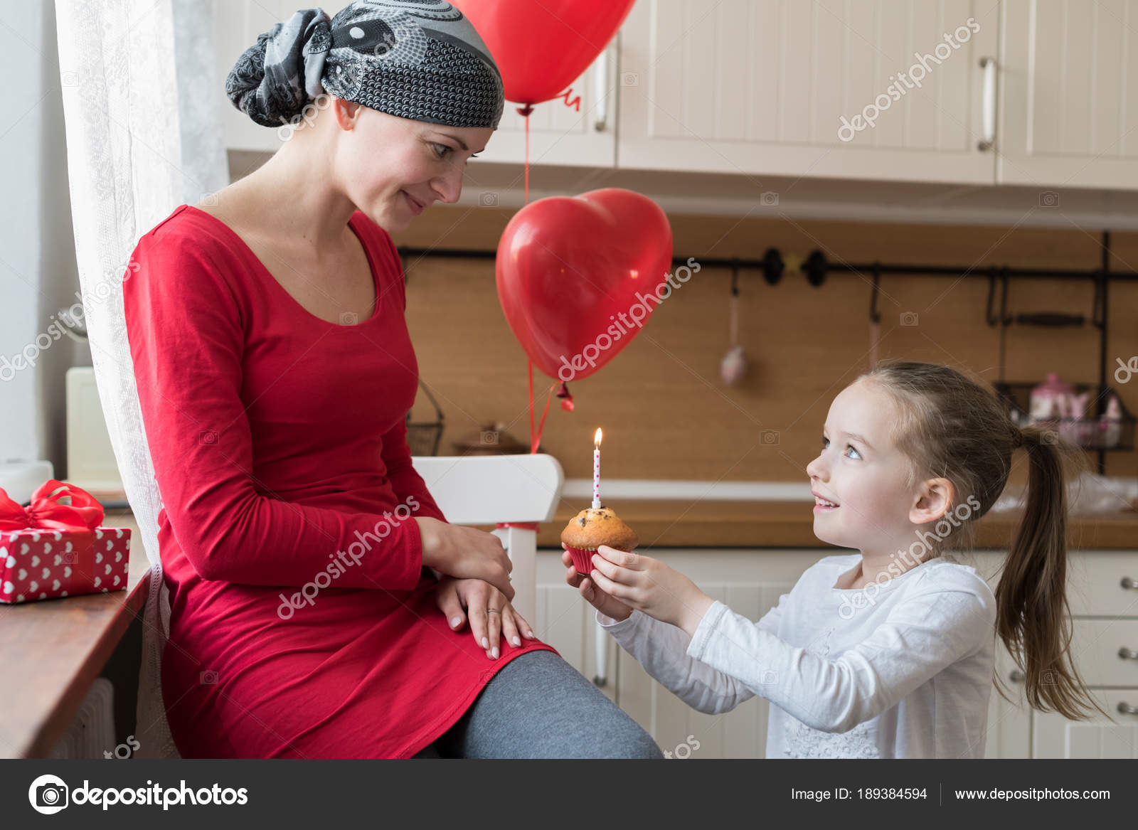 Young Mother Cancer Patient Her Cute Daughter Celebrating Birthday Balloons Stock Photo