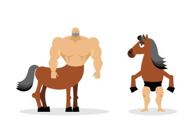 Centaur mythical creature. Half horse half person. Sports creatu