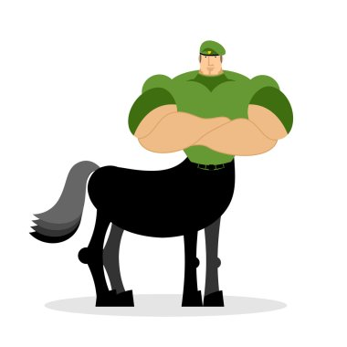 Centaur soldier in green beret. Military mythical creature. Half