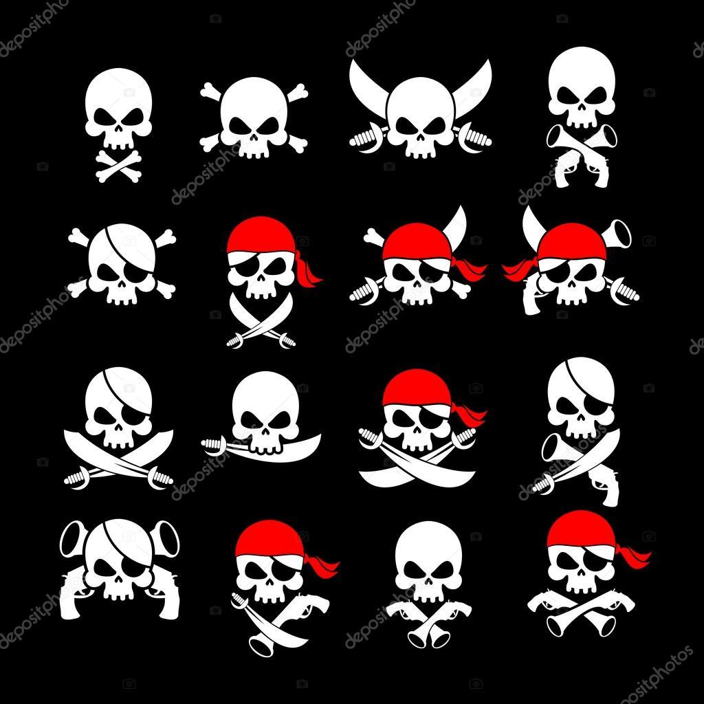 Jolly Roger. Piratenflagge. Schädel und gekreuzten Knochen. Skelett ...