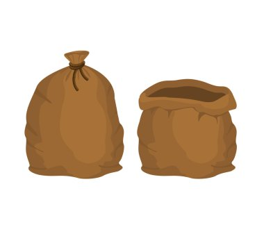Big knotted sack Full and empty. Brown textile bag of potatoes o
