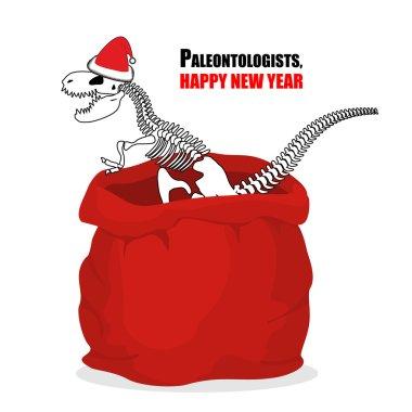 Paleontologists new year. Dinosaur skeleton in red sack Santa Cl