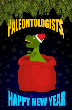 New year Paleontologists . Dinosaur T- rex in red sack Santa Cla