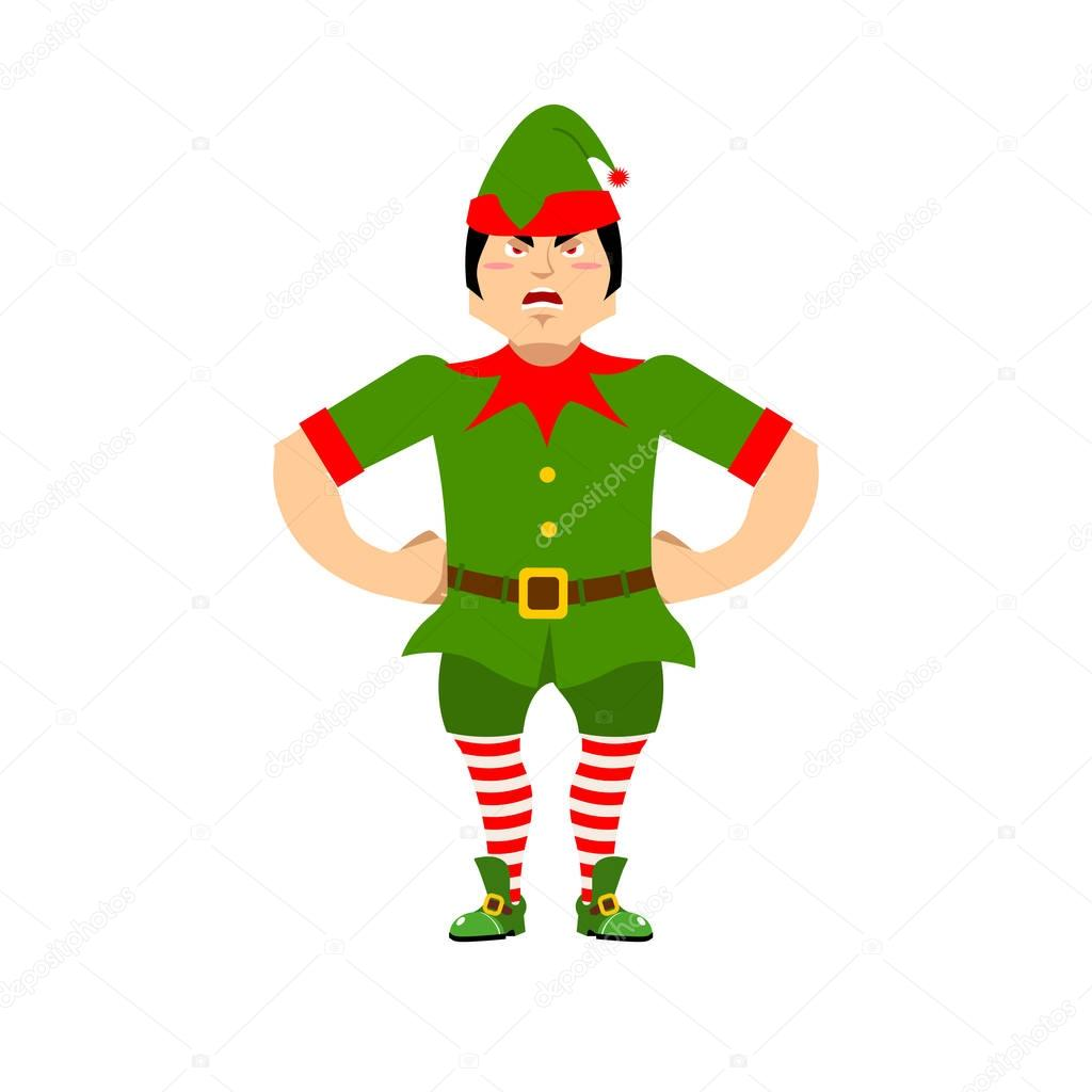 Angry Christmas elf. Aggressive assistant of Santa Claus. Grumpy ...