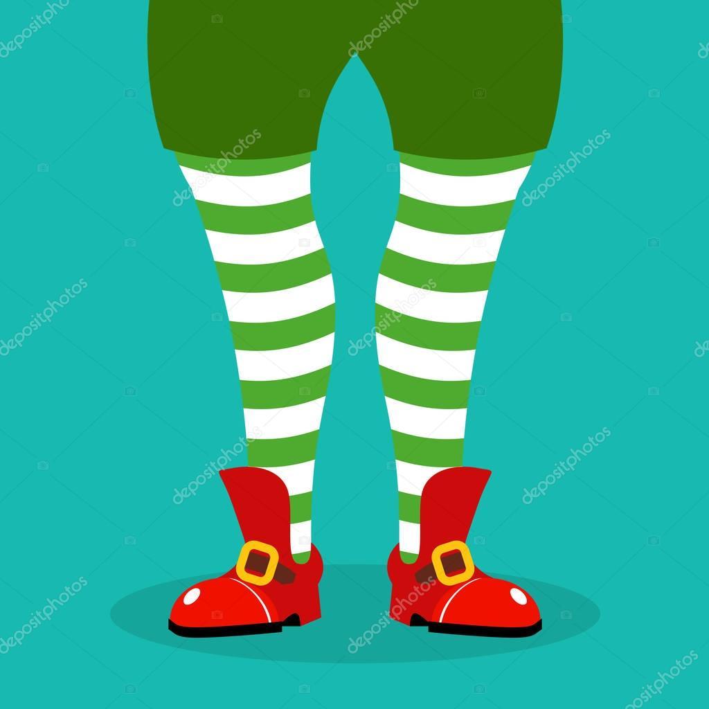 Nohy vánoční skřítek. Pruhované punčochy a červené boty. Asistent Santa  Claus. Ilustrace pro nové Ano — Vektor od ... 6a03c1a125