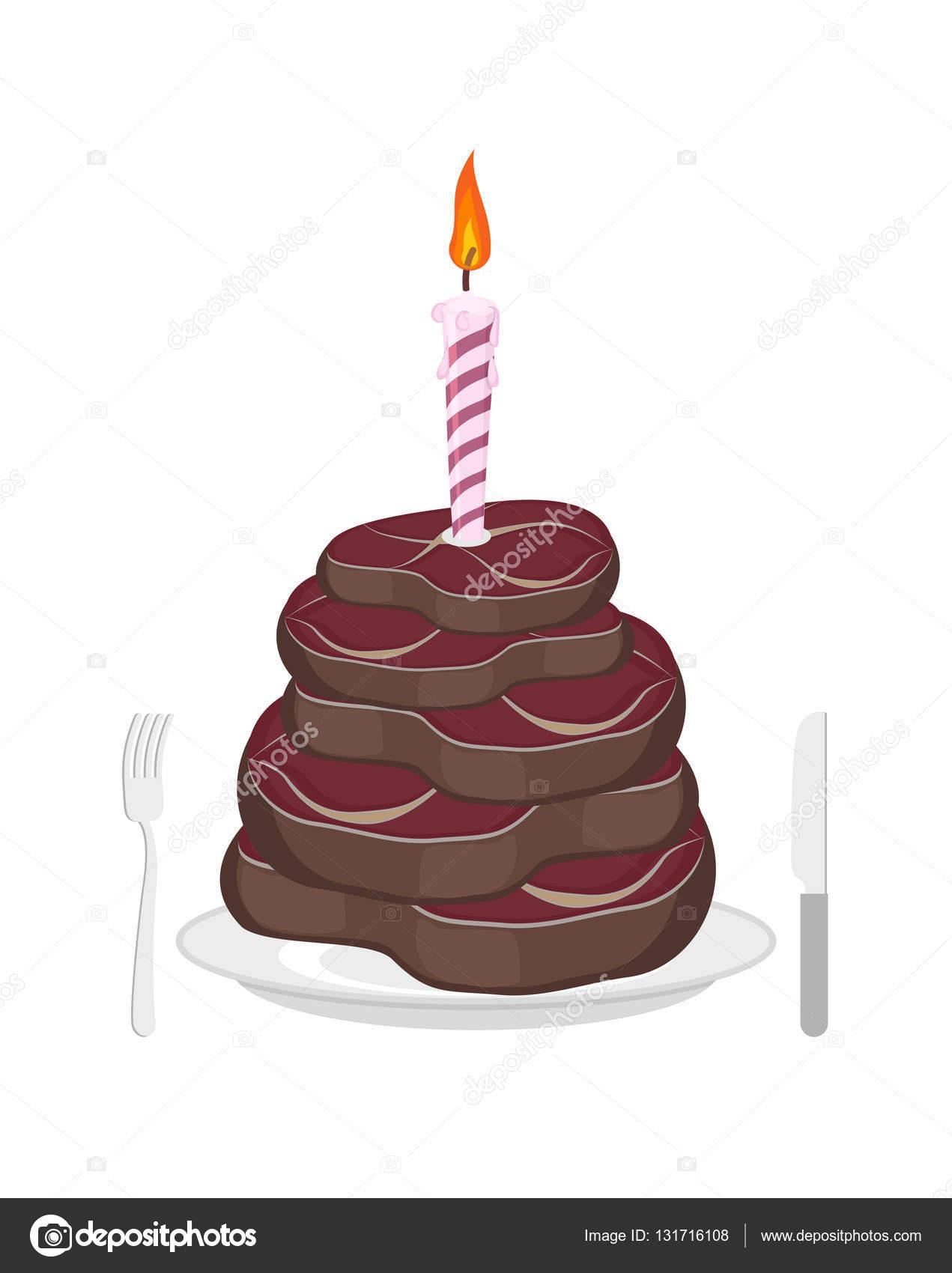 Torta Di Carne Bistecca E Candela Uomini Di Buon Compleanno