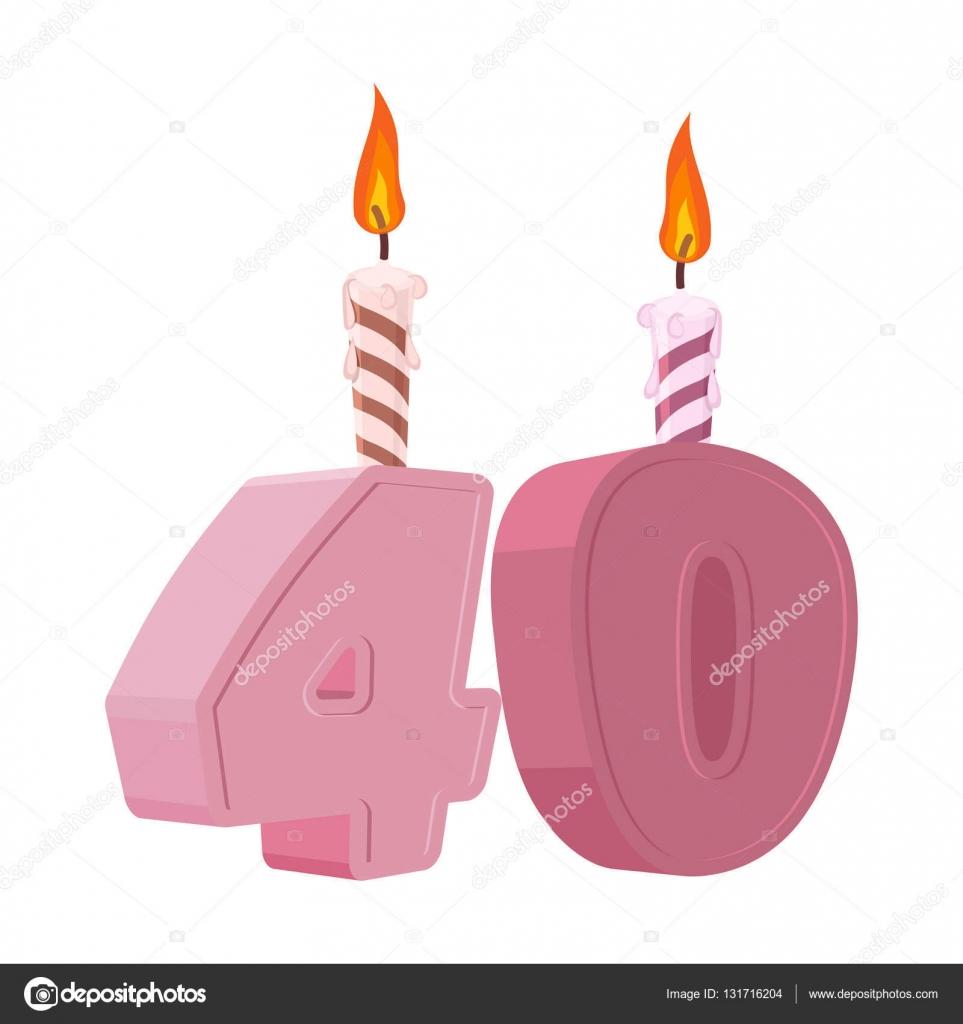vakantie 40 jaar 40 jaar verjaardag. Cijfers met feestelijke kaars voor de cake van  vakantie 40 jaar
