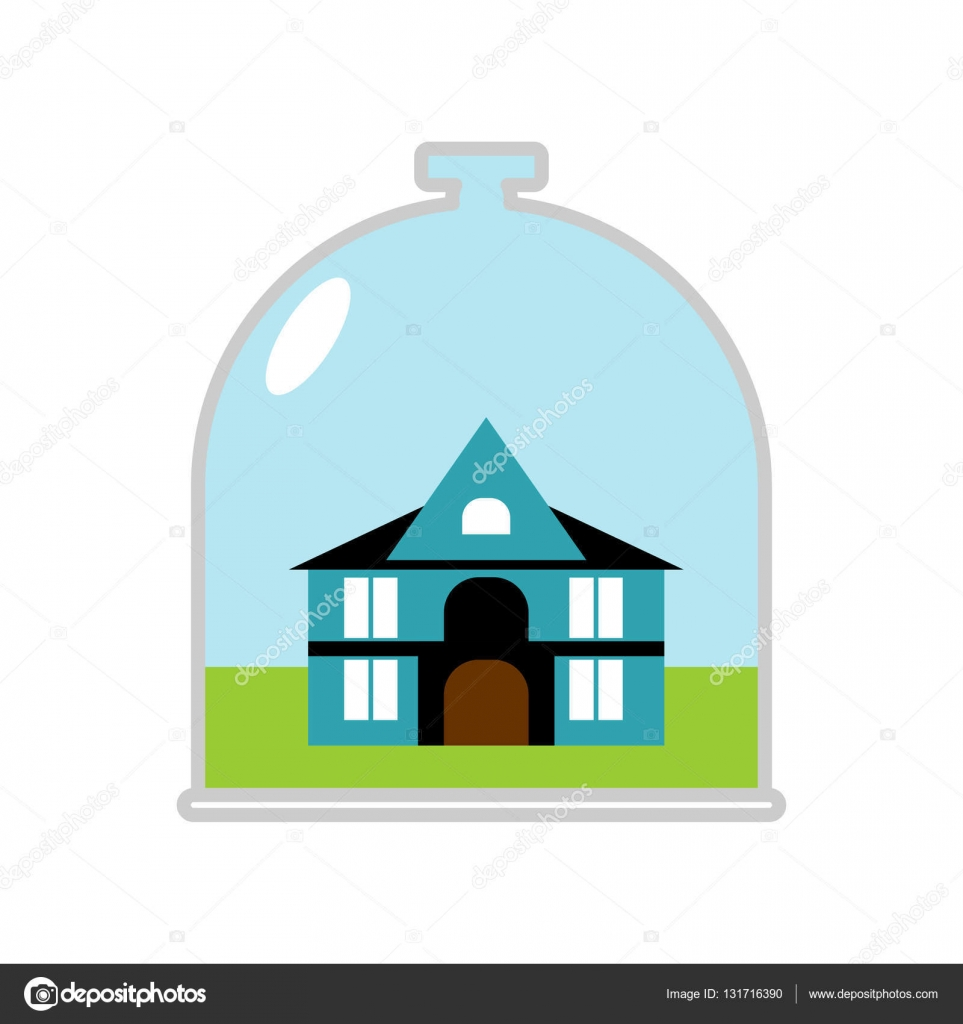 Protective canopy over Building. Saving at hom u2014 Stock Vector #  sc 1 st  Depositphotos & house Glass Bell. Protective canopy over Building. Saving at hom ...