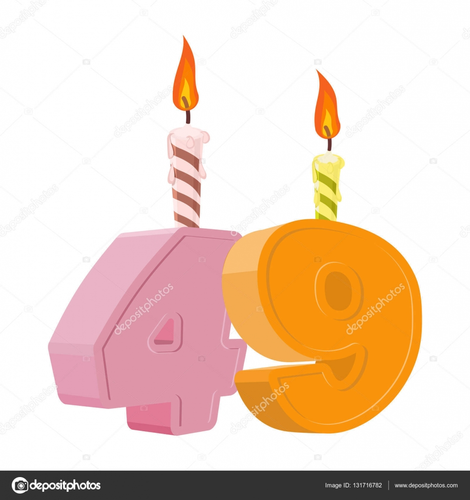 49 years birthday. Number with festive candle for holiday cake. Forty nine  Anniversary — Vector by popaukropa