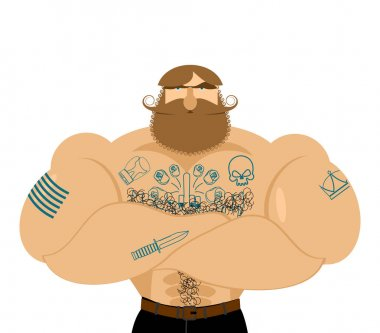 Hipster beard and tattoos. Mustachioed brutal man. Strong muscle