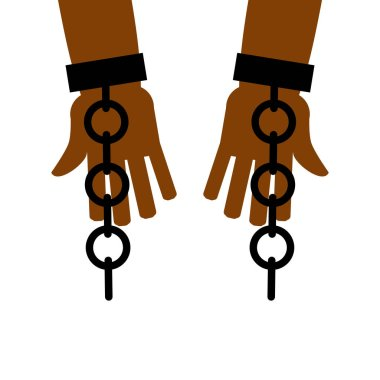 Emancipation from slavery. break free. Chains on slave hands. Re