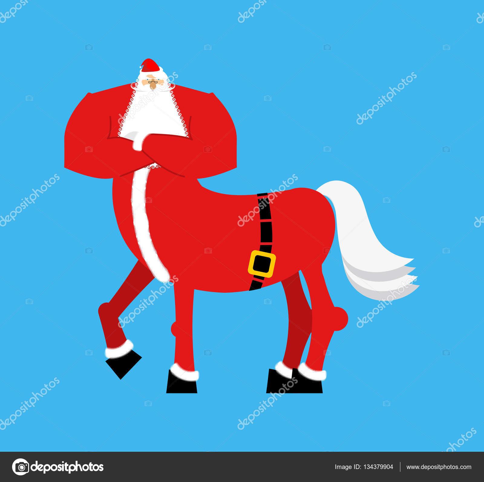 2f633bd0e2f91 Centauro de Santa Claus. Monstruo de la Santa. Mitad hombre mitad caballo.  Ilustración de Navidad — Vector de popaukropa