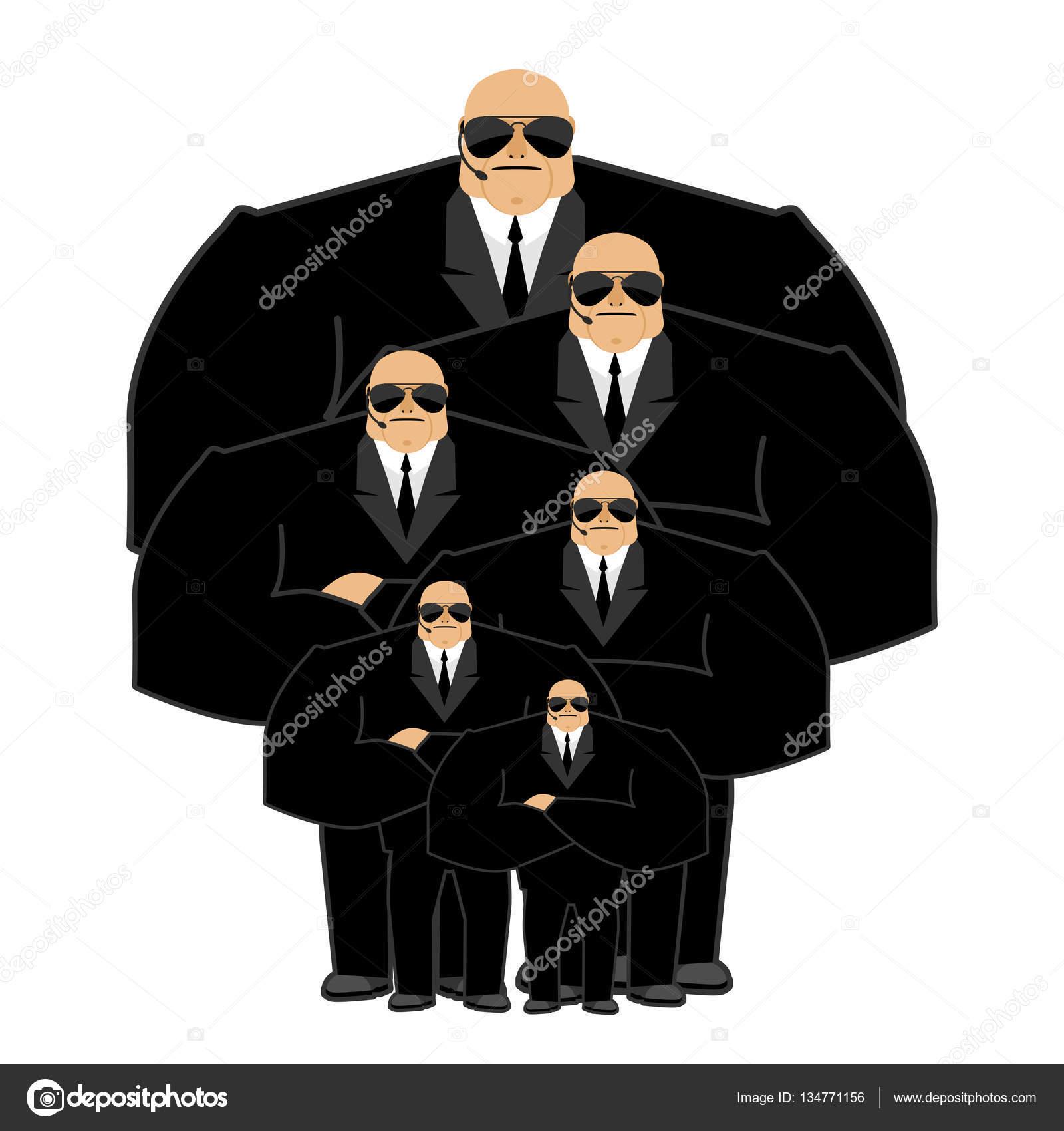 famille de garde du corps noir de costume et mains libres homme de la s curit protec image. Black Bedroom Furniture Sets. Home Design Ideas