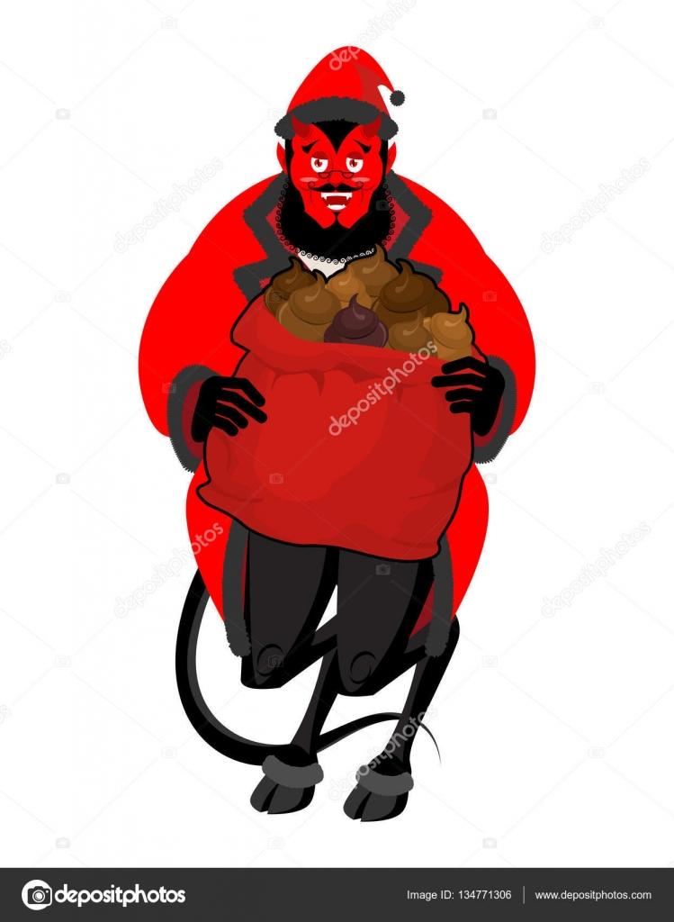 Satan Santa Krampus. Weihnachten-Monster für böse Kinder und Stier ...
