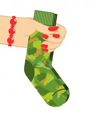 February 23. Female hand to give socks. Traditional gift for mil