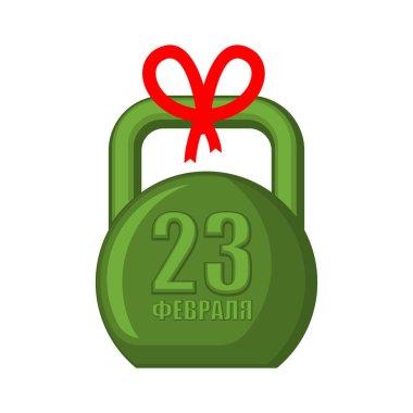 23 February Kettlebell. Gift for men. For military holiday in Ru