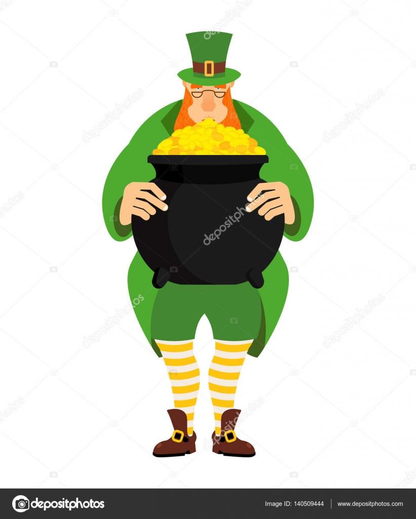 Duende y olla de oro. enano en ropa verde y caldera de — Vector de ...