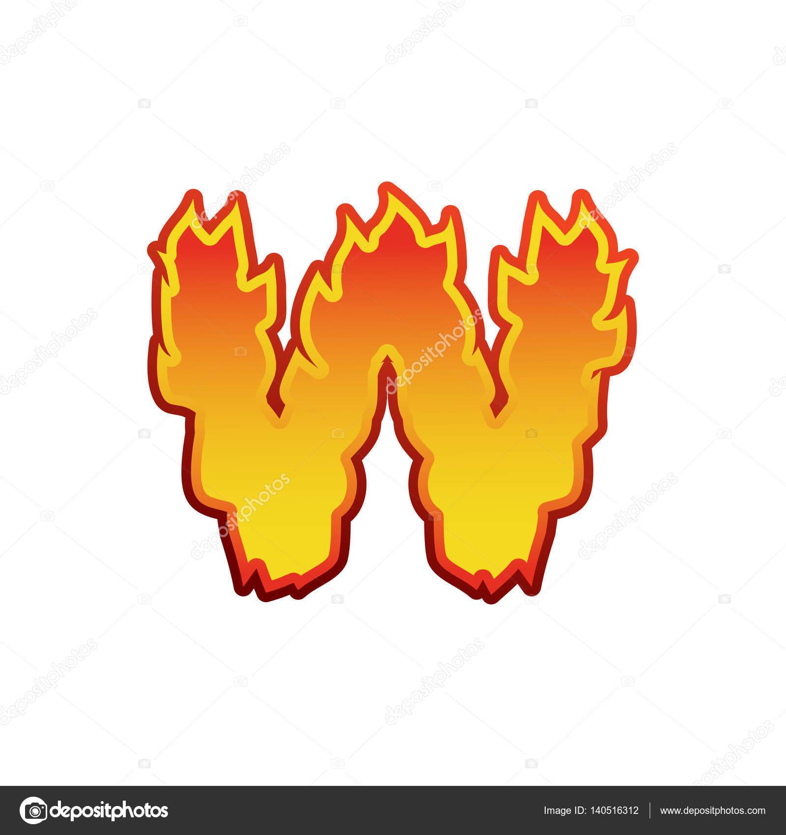 Litera A Ogień Płomienie Czcionki Napisu Tatuaż Znak