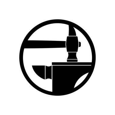 Forge logo. smithy symbol. Hammer and anvil emblem. Vintage sign