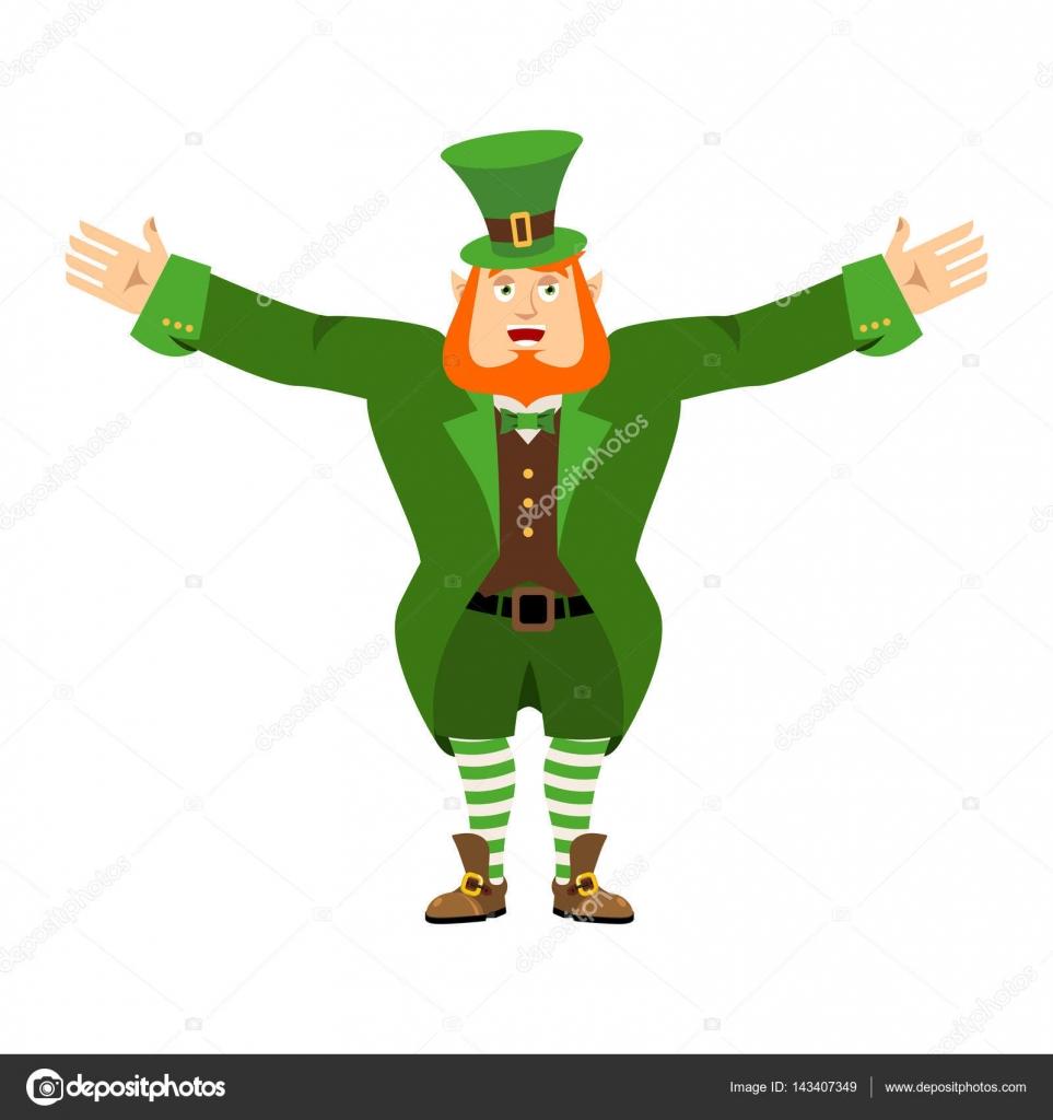59fe703c4e566 Leprechaun happy. Dwarf with red beard merry Emoji. Irish elf em ...