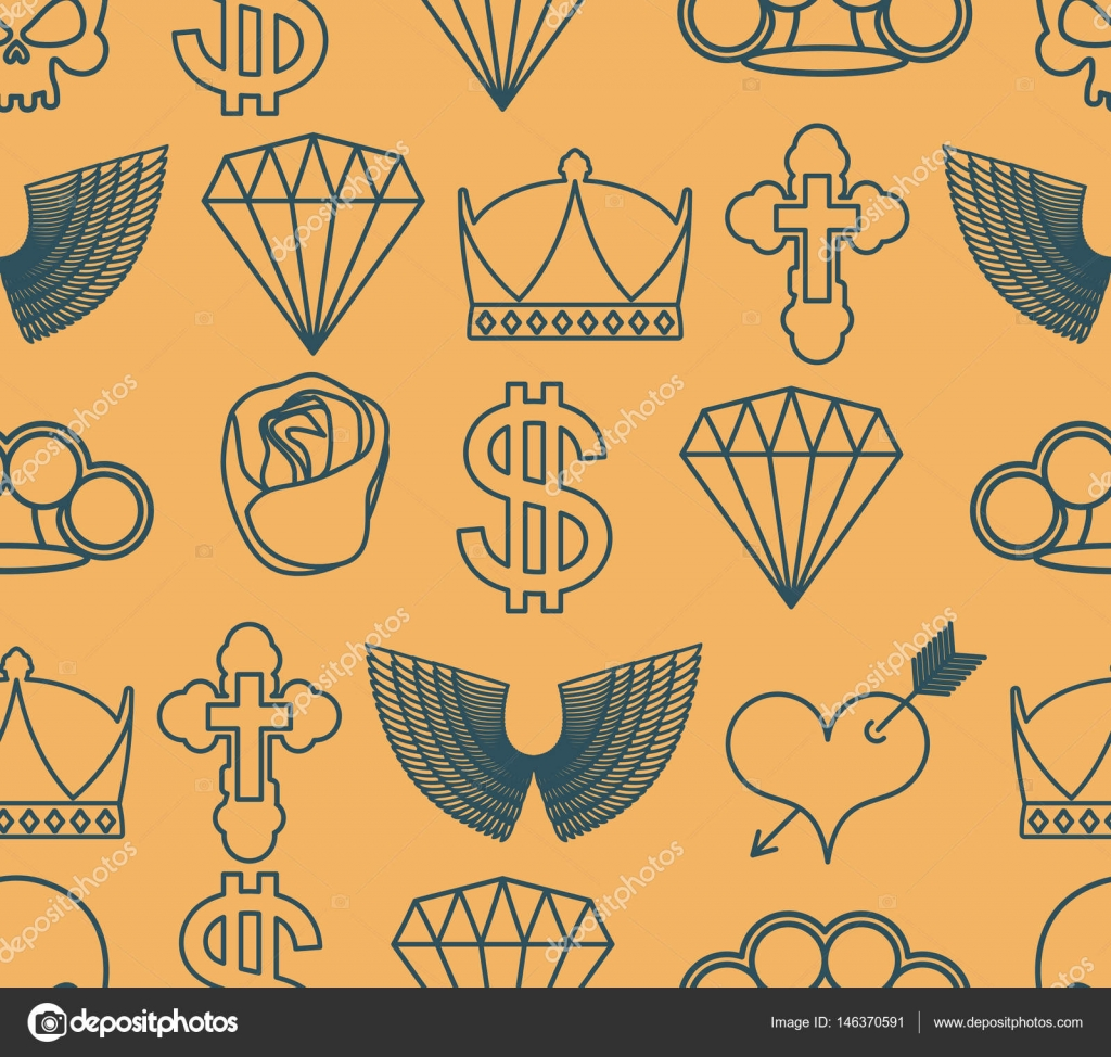 Tattoo Seamless Pattern Skull And Brass Knuckles Rose And Hear