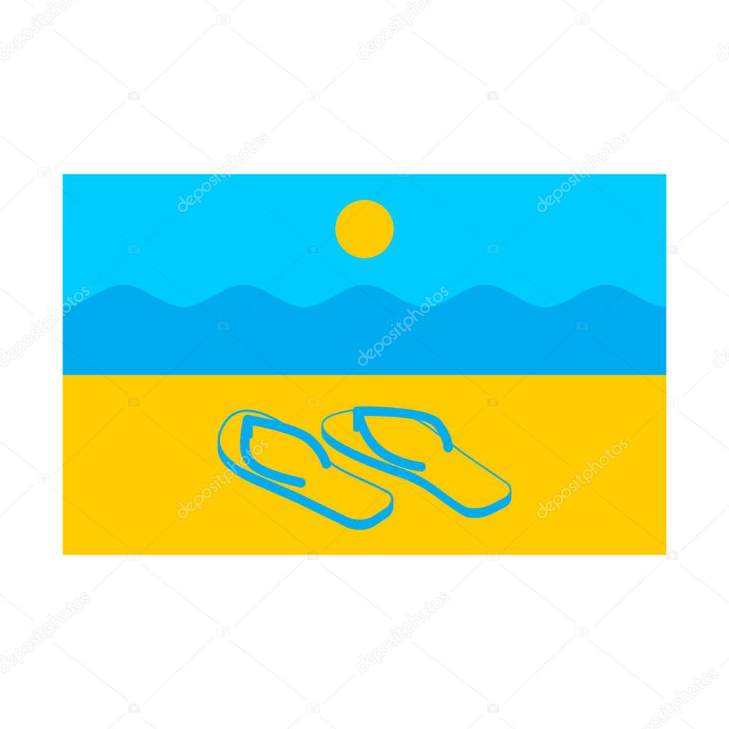 Summer flag. Symbol of solar state. Beach and slippers. Sun and