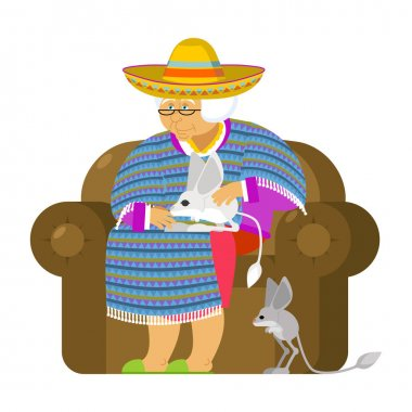 Mexican grandmother and Jerboa a pet. Old woman from Mexico on c