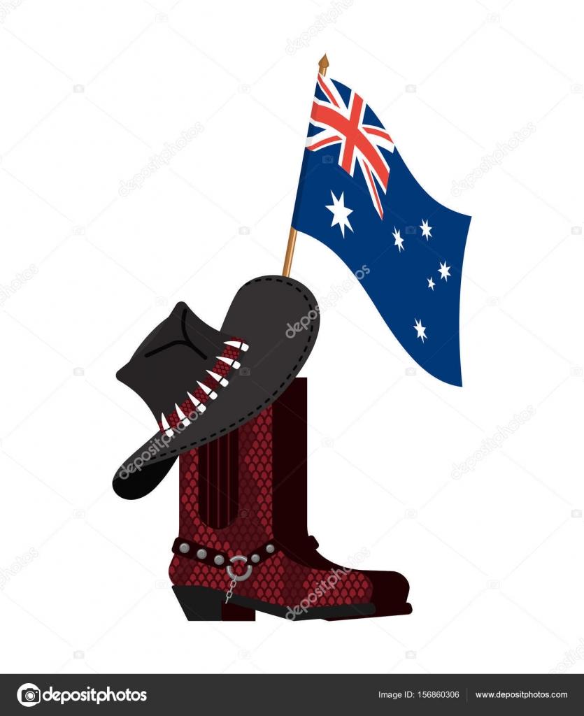 Bandera de Australia y sombrero australiano y cocodrilo piel botas. Python  y gorro de vaquero de cuero de zapatos. Zapatos ropa occidental y rodeo —  Vector ... 3ece02acd3b