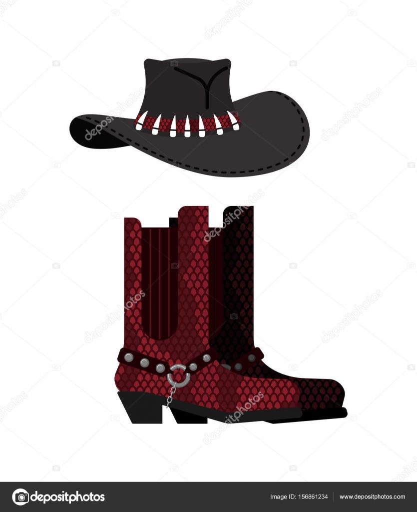 Sombrero australiano y cocodrilo piel botas. Python y gorro de vaquero de  cuero de zapatos. Zapatos ropa occidental y rodeo — Vector de popaukropa 3555531e7de