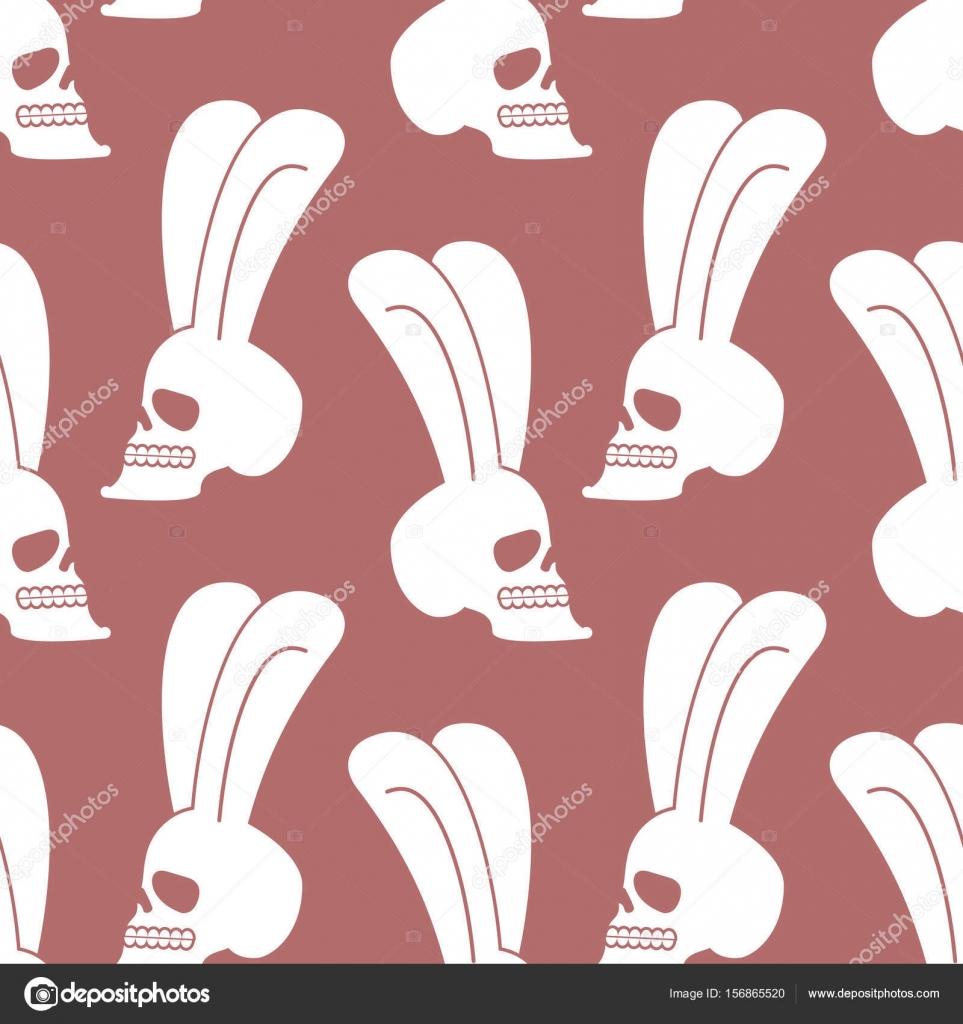 Patrón de cráneo de conejo. Conejo blanco con cabeza de esqueleto ...