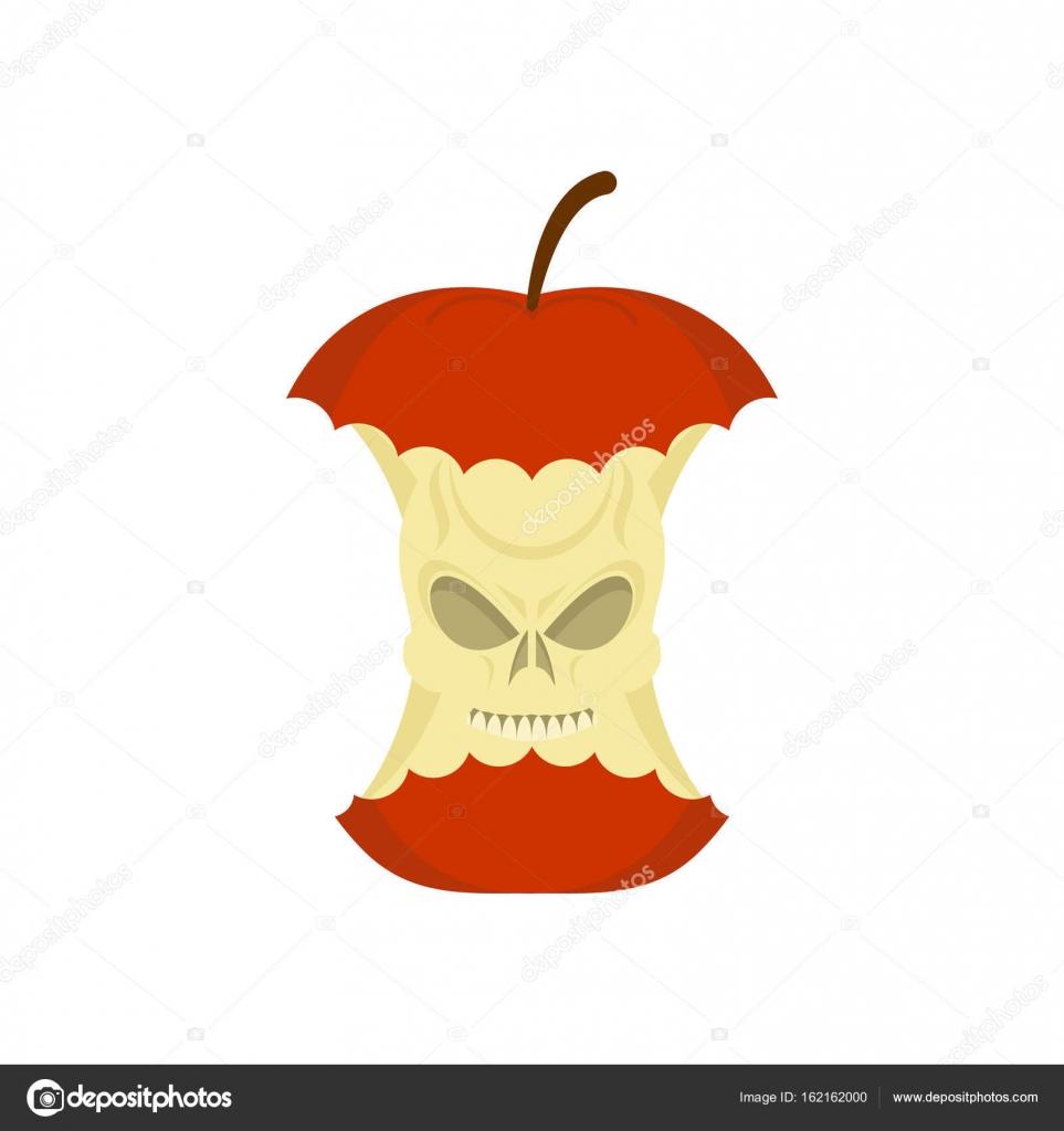 base de cráneo manzana aislada. resto de la muerte de la fruta en ...