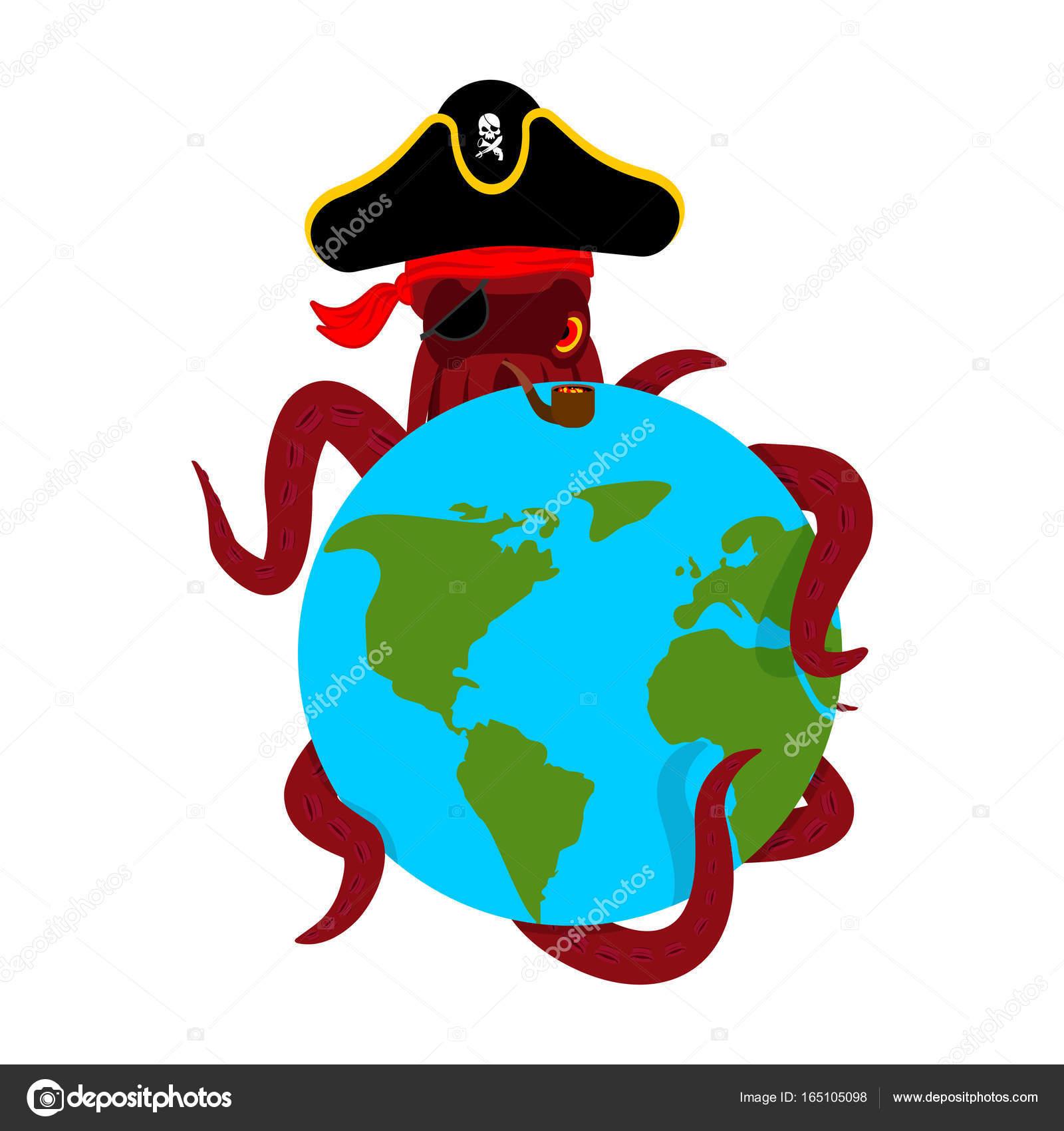 Pirata de pulpo y de la tierra. Poulpe Bucanero y el planeta. Parche ...