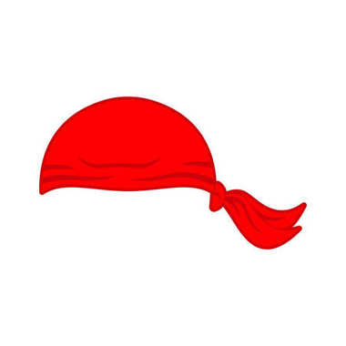 Pirates red Bandana cap isolated. Hat buccaneer. Corsair Accesso