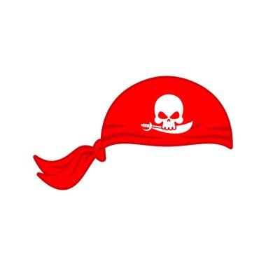 Pirates red Bandana cap isolated. Hat buccaneer. Bones and skull