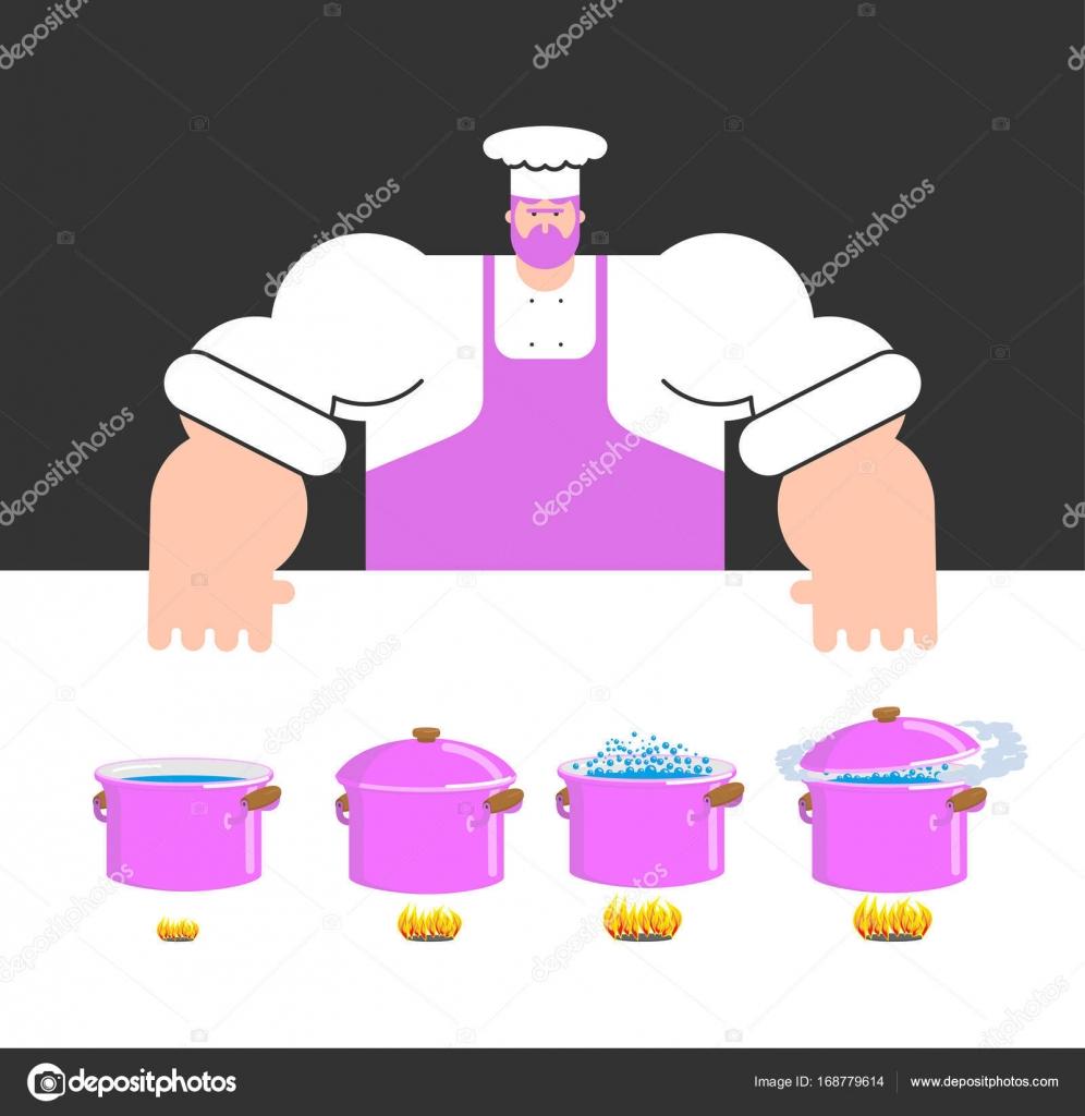 Kochen Anweisung Vorlage. Koch und Topf. Schritt für Schritt fo ...