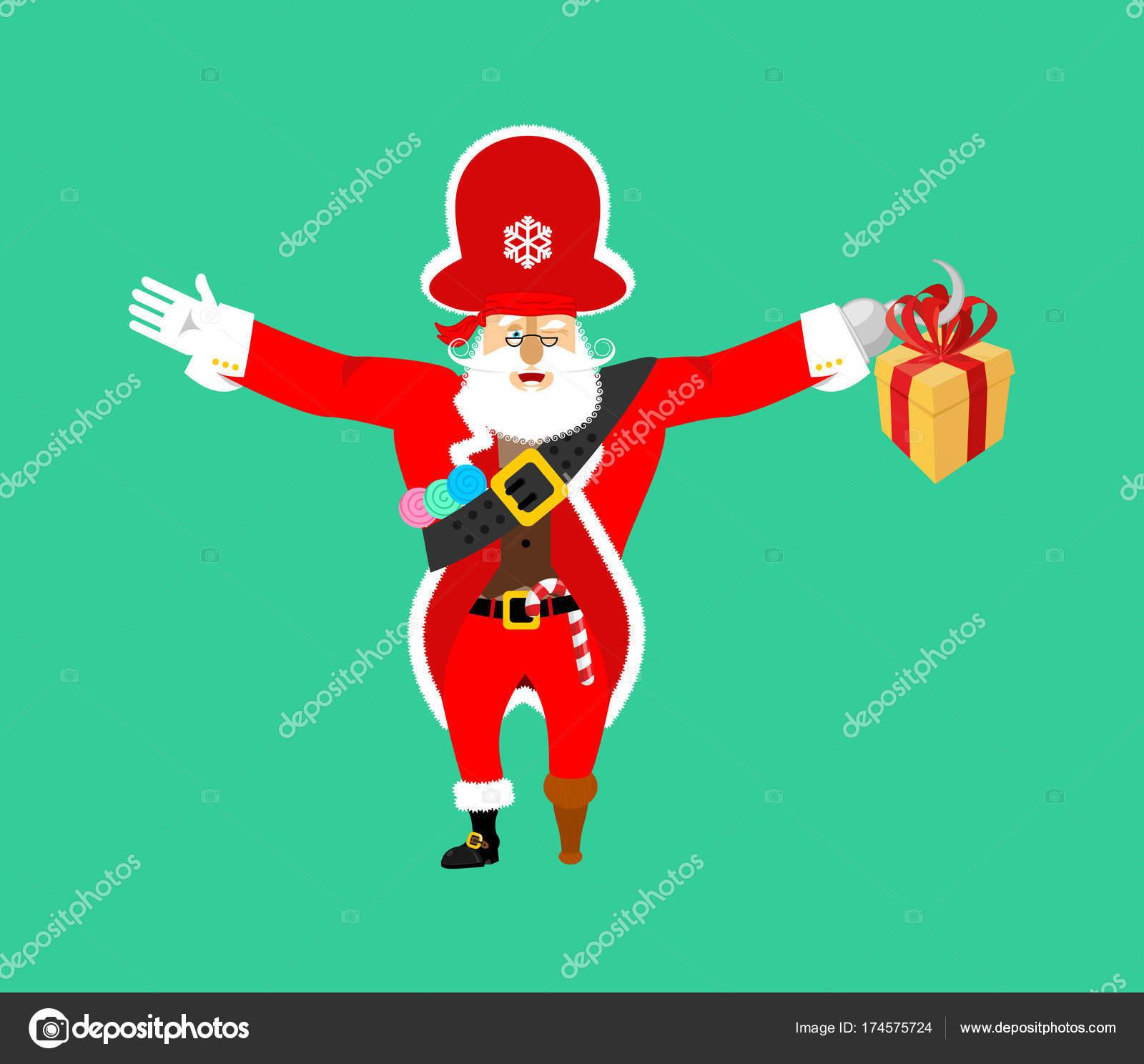 Santa Claus Piraat Kerst Buccaneer De Doos Van De Gift Haak En
