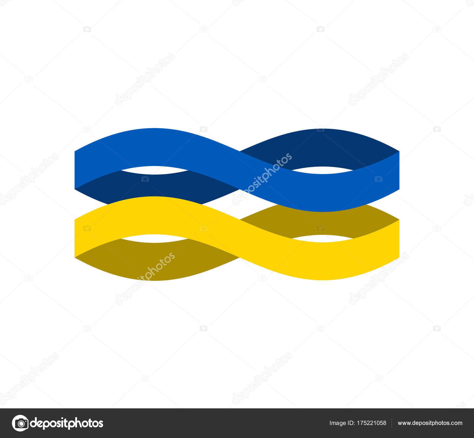 Ukraine Flag Ribbon Isolated Ukrainian Symbol National Tape St