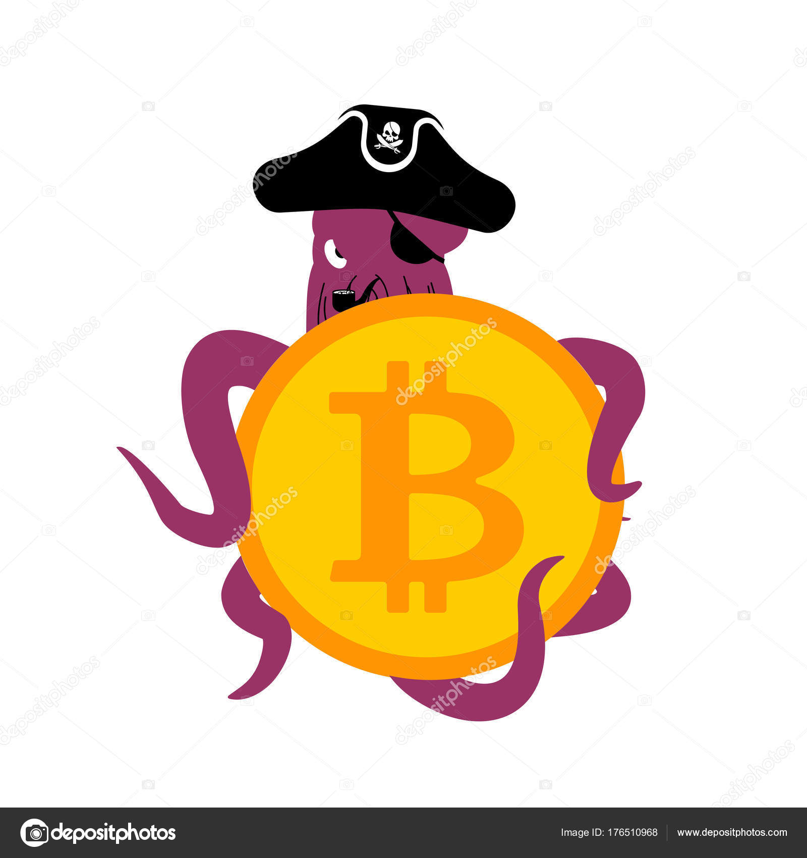 Octopus Web Pirate and bitcoin  Hacker  Thief and crypto