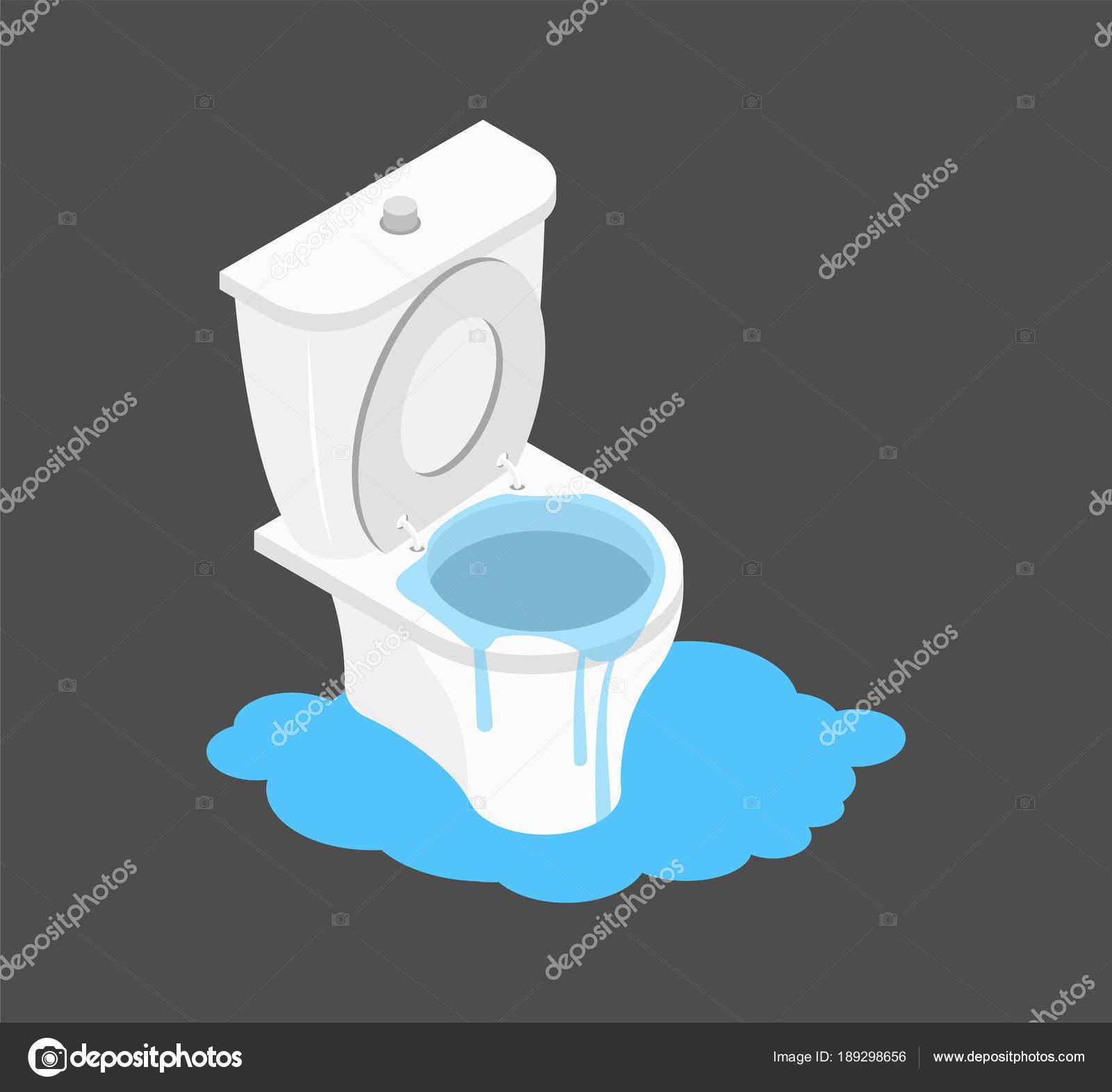 toilette verstopft isometrie. leckage kanalisierung. wurf im wc