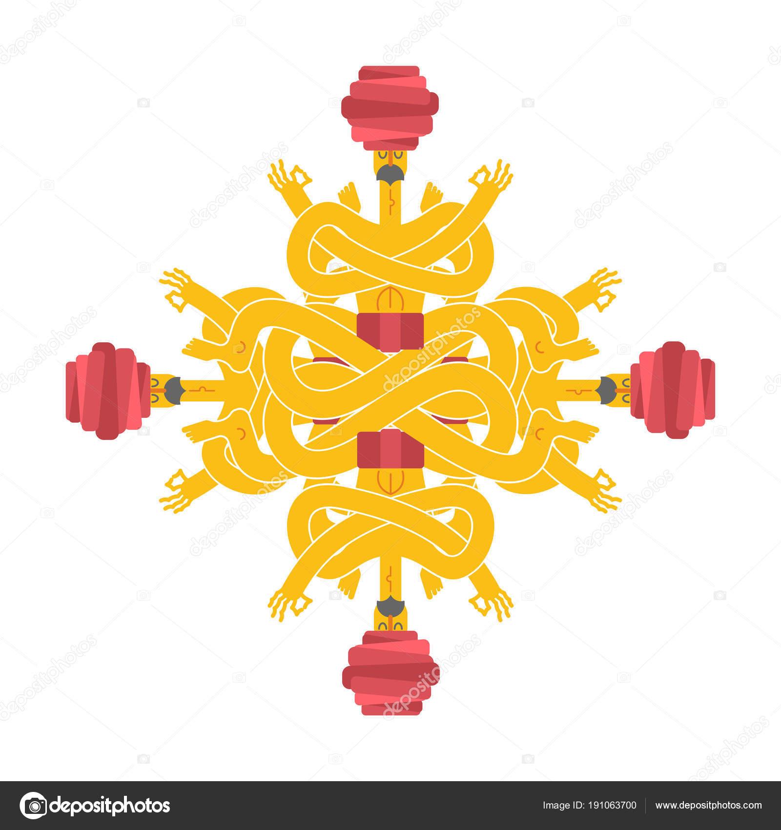 Yogi Pattern Emblem For Yoga School Indian Yoga In Turban Rel